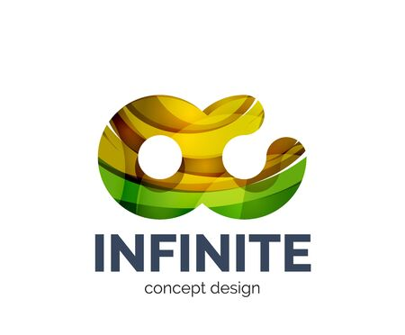 Infinite business branding icon, created with color overlapping elements. Glossy abstract geometric style.