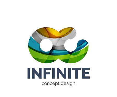 mobius symbol: Infinite business branding icon, created with color overlapping elements. Glossy abstract geometric style.
