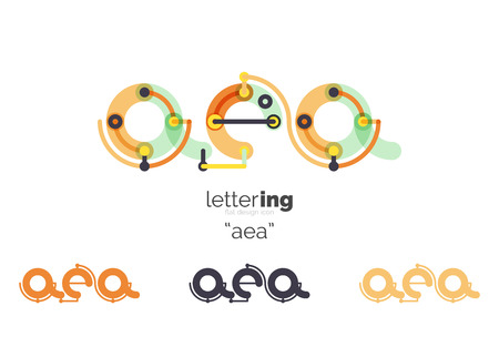 Alphabet letter font business icon. Company name concept. Flat thin line segments connected to each other. Illustration
