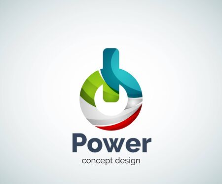 Power button template, abstract geometric glossy business icon Illustration