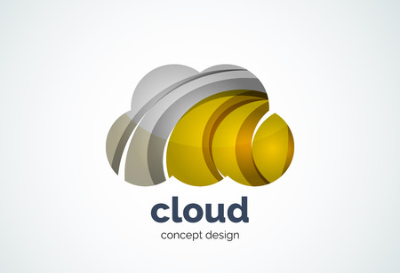 Cloud template, remote hard drive storage or weather concept - geometric minimal style, created with overlapping curve elements and waves. Corporate identity emblem, abstract business company branding element Illustration