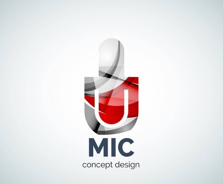 Microphone business branding icon, created with color overlapping elements. Glossy abstract geometric style.