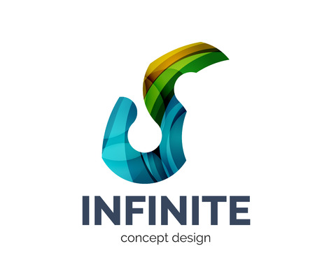 mobius symbol: Infinite logo business branding icon, created with color overlapping elements. Glossy abstract geometric style, single logotype