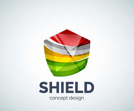 honor guard: Shield business branding icon, created with color overlapping elements. Glossy abstract geometric style