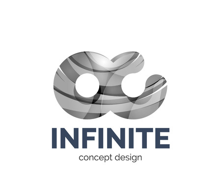mobius symbol: Infinite business branding icon, created with color overlapping elements. Glossy abstract geometric style