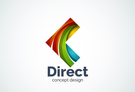 Abstract business company arrow   template, direct concept - geometric minimal style, created with overlapping curve elements and waves. Corporate identity emblem
