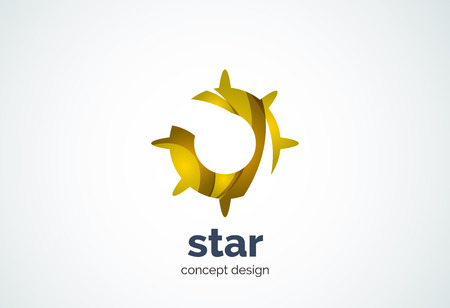 shining star: Sun  template, shining star concept - geometric minimal style, created with overlapping curve elements and waves. Corporate identity emblem, abstract business company branding element Illustration