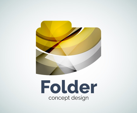 web directories: Computer folder  template, abstract elegant glossy business icon