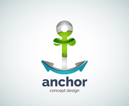 Vector ship anchor  template, abstract business icon Illustration