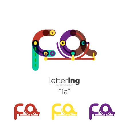 Linear initial letters, branding concept, cartoon funny style
