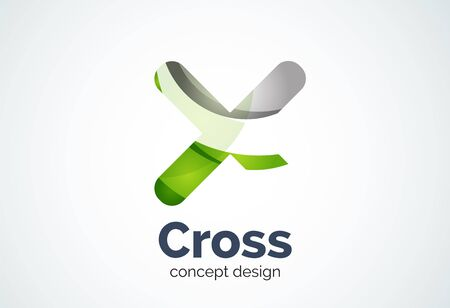 rotated: X cross  template, rotated plus, medical or letter concept. Modern minimal design created with geometric shapes - circles, overlapping elements Illustration