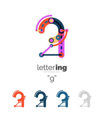 Linear initial letters,   branding concept, cartoon funny style Illustration