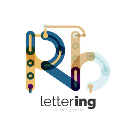 Linear business   letter. Alphabet initial letters company name concept. Flat thin line segments connected to each other. Illustration
