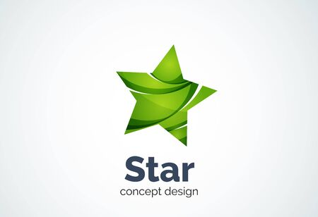 choice concept: Star  template, rating or best choice concept. Modern minimal design  created with geometric shapes - circles, overlapping elements