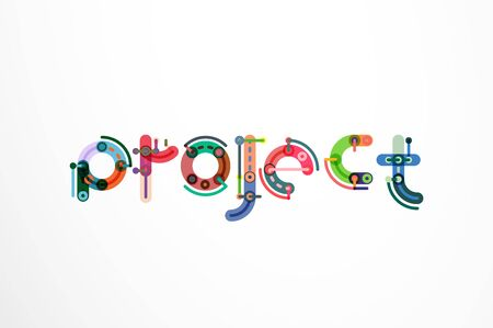 Project word letter banner. Thin line flat design banners for website, mobile website, presentation or printing Illustration