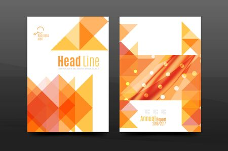 pattern corporate identity orange: Colorful geometry design annual report a4 cover brochure template layout, magazine, flyer or leaflet booklet. Modern minimal triangle pattern. Vector illustration