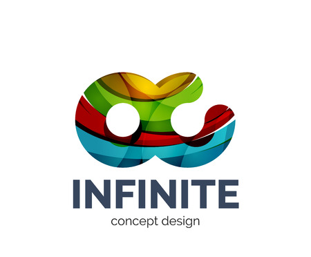 Infinite business branding icon, created with color overlapping elements. Glossy abstract geometric style