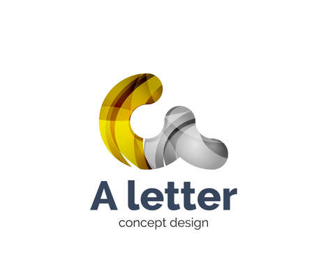 A letter alphabet round style business branding icon, created with color overlapping elements. Glossy abstract geometric style Illustration