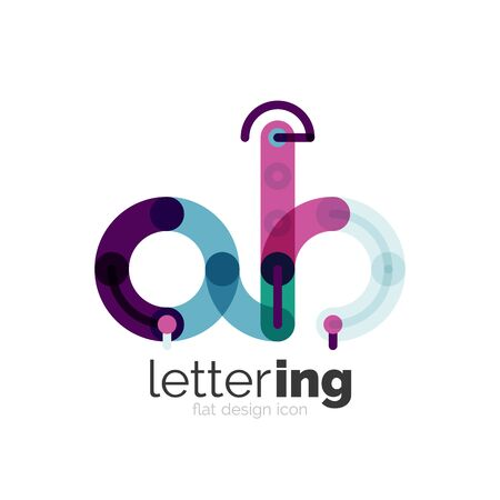 Letter  business linear icon on white background. Alphabet initial letters company name concept. Flat thin line segments connected to each other Illustration
