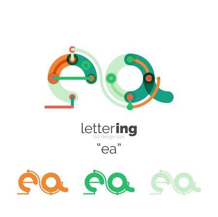 Letter business linear icon on white background. Alphabet initial letters company name concept. Flat thin line segments connected to each other. Flat cartoon industrial wire or tube design of ABC typeface