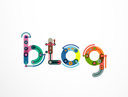 bulletin: Blog word lettering banner, created with connected colorful lines. Mobile app, web design or business presentation element