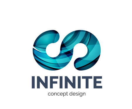 mobius strip: Infinite business branding icon, created with color overlapping elements. Glossy abstract geometric style