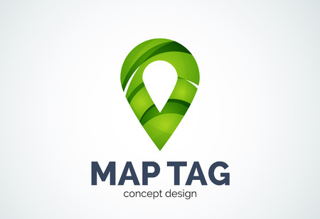 point of interest: Abstract business company map tag or locator template, navigation pointer concept - geometric minimal style, created with overlapping curve elements and waves. Corporate identity emblem