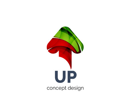 up arrow: Up arrow business branding icon, created with color overlapping elements. Glossy abstract geometric style
