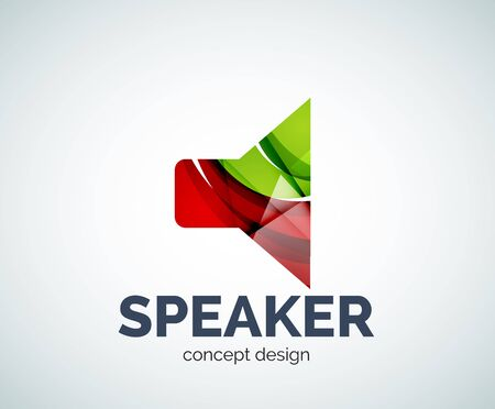 Speaker business branding icon, created with color overlapping elements. Glossy abstract geometric style