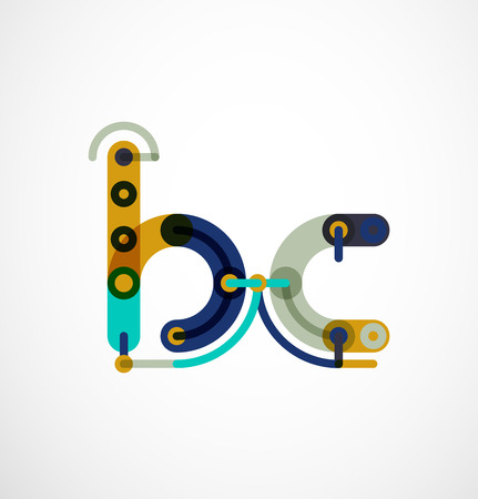 db: Linear initial letters,  branding concept, cartoon funny style