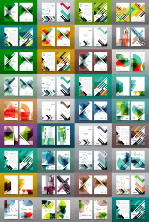 Mega collection of business annual report covers, A4 size. Various geometric styles