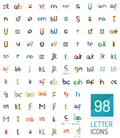 breen: Mega collection of 98 line designed letter  , modern abstract geometric company branding templates - initial letters Illustration