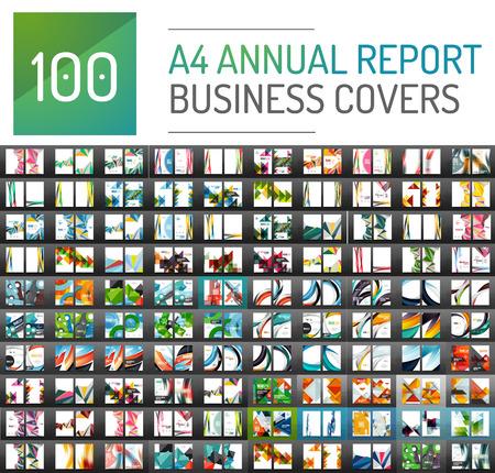 Mega collectie van 100 zakelijke jaarverslag brochure templates, A4-formaat covers gemaakt met geometrische moderne patronen - pleinen, lijnen, driehoeken, golven