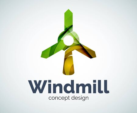 wind mills: Windmill template, abstract elegant glossy business icon