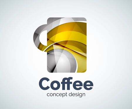 Coffee cup template, abstract geometric glossy business icon
