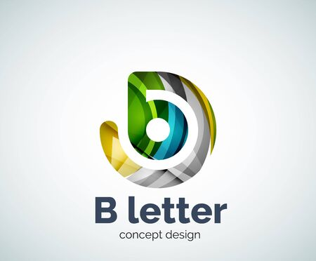 font design: Vector B letter concept template, abstract business icon Illustration