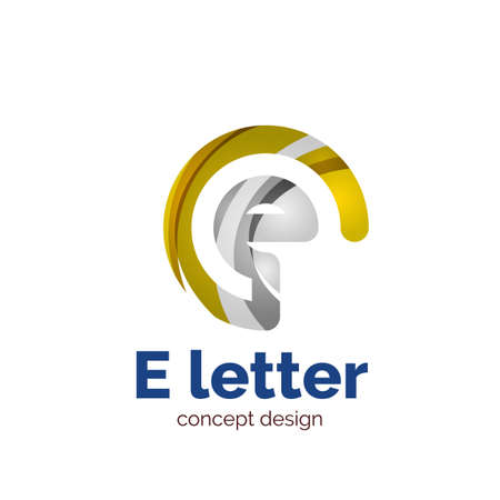 e business: Vector letter concept template, abstract business icon. Created with transparent overlapping wave elements, elegant design