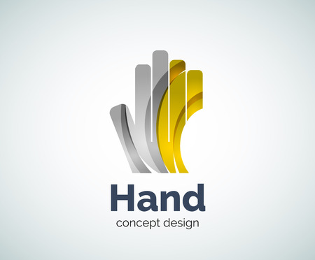 protection hands: Hand  template, abstract geometric glossy business icon