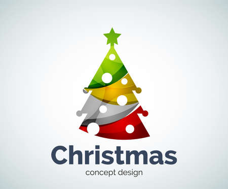 Vector Christmas or New Year tree template, abstract business icon