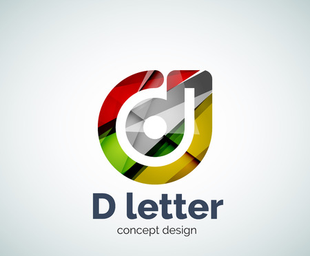 Vector D letter concept template, abstract business icon Illustration