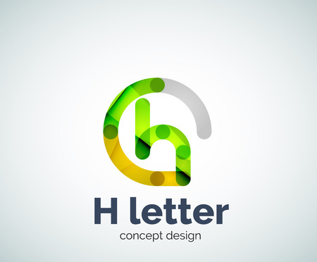 Abstract H geometric letter  template. Overlapping transparent wave elements composition Illustration
