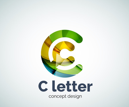 initial: Vector C letter concept template, abstract business icon