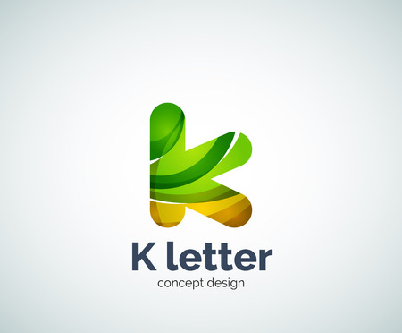 Vector k letter  abstract geometric template, created with overlapping elements Illustration