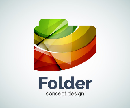 Computer folder template, abstract elegant glossy business icon