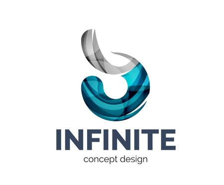 mobius: Infinite  business branding icon, created with color overlapping elements. Glossy abstract geometric style Illustration