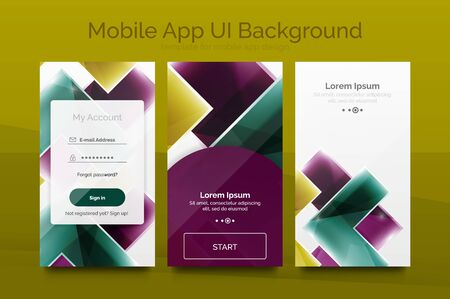 mobile application: Mobile background ui - geometric abstract pattern. Application wallpaper blank layout