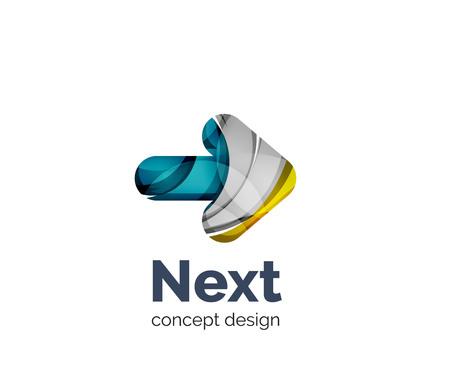 Suivant flèche icône de l'image de marque de l'entreprise, créé avec la couleur des éléments qui se chevauchent. style géométrique abstrait Glossy