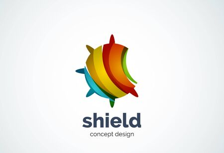 Round shield template, security or safe concept - geometric minimal style, created with overlapping curve elements and waves. Corporate identity emblem, abstract business company branding element
