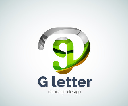 ball point: G letter icon. Business geometric abstract element