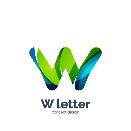 Vector W letter   modern abstract geometric elegant design, shiny light effect. Created with flowing waves Illustration